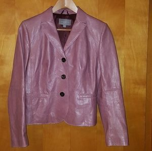 Ann Taylor dusty rose pink /mauve leather blazer
